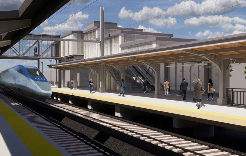 Amtrak - Baltimore Penn Station | Platform 4 Looking North at Headhouse | Image Credit: JacobsWyper Architects