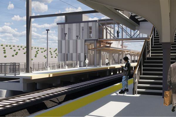 Amtrak - Baltimore Penn Station | Platform 4 Looking South at Headhouse | Image Credit: JacobsWyper Architects