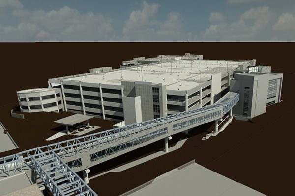Exterior rendering at Bradley International Airport, Consolidated Rental Car Facility (ConRAC)