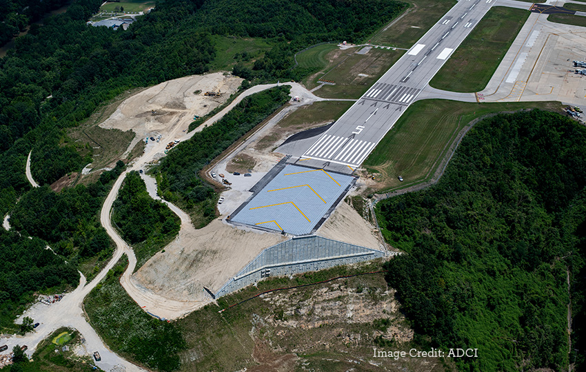 Aerial View of Yeager Airport Runway 5 Improvements - Photo credit: ADCI
