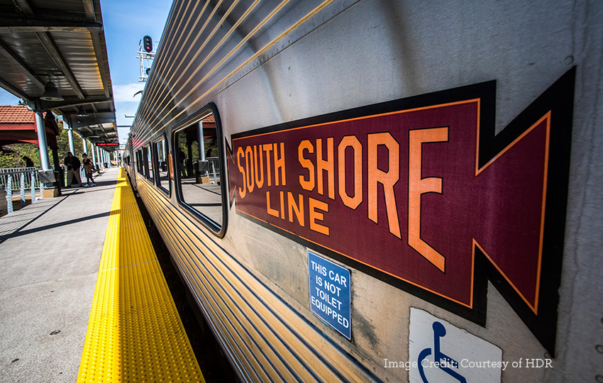 South Shore Line close up view of train