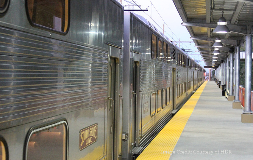 South Shore Line view of train cars