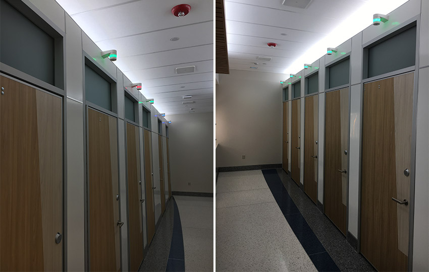Restroom floor-to-ceiling stall enclosures for added privacy