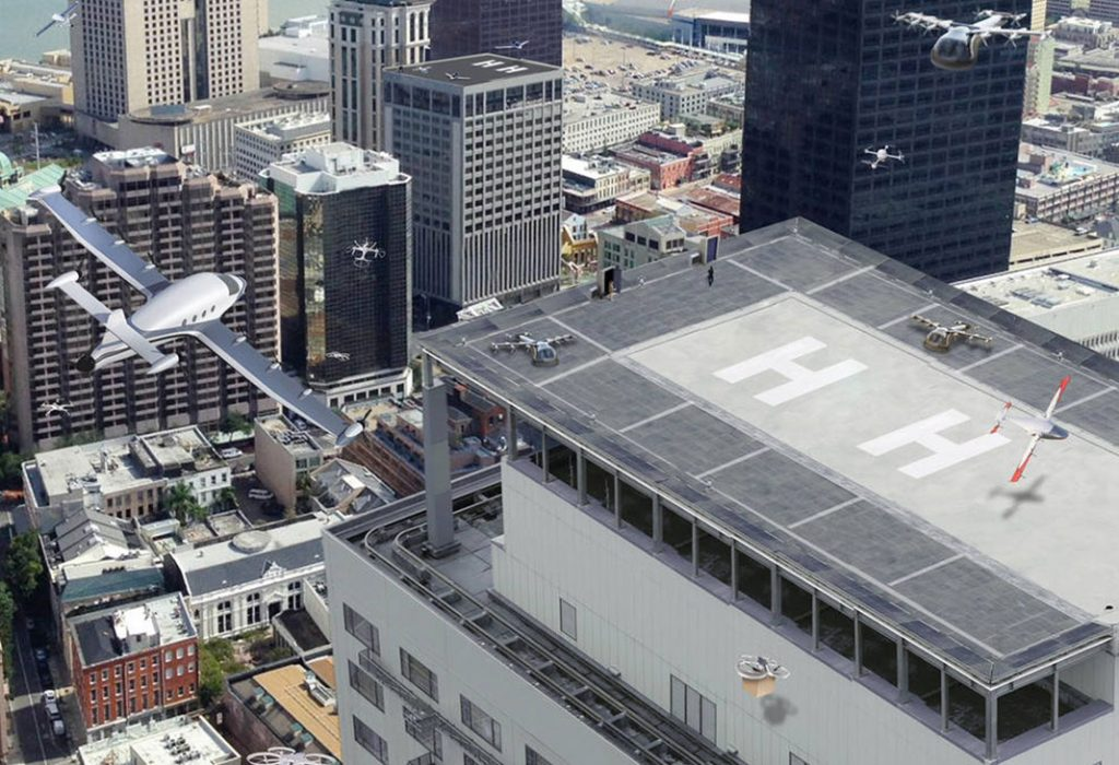Aerial view in urban setting with battery-powered aerial craft   Credit: NASA