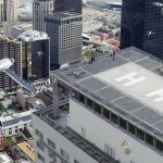 Aerial view in urban setting with battery-powered aerial craft | Credit: NASA